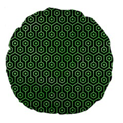 Hexagon1 Black Marble & Green Watercolor Large 18  Premium Flano Round Cushions