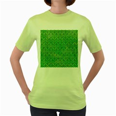 Hexagon1 Black Marble & Green Watercolor (r) Women s Green T Shirt