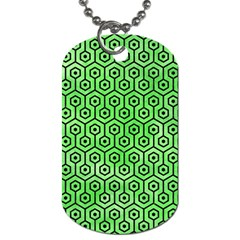 Hexagon1 Black Marble & Green Watercolor (r) Dog Tag (one Side)