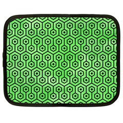Hexagon1 Black Marble & Green Watercolor (r) Netbook Case (large)