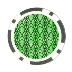 Hexagon1 Black Marble & Green Watercolor (r) Poker Chip Card Guard (10 Pack)