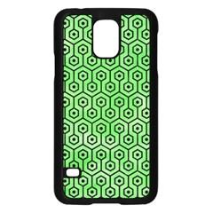 Hexagon1 Black Marble & Green Watercolor (r) Samsung Galaxy S5 Case (black)