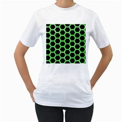 Hexagon2 Black Marble & Green Watercolor Women s T Shirt (white) (two Sided)