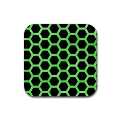 Hexagon2 Black Marble & Green Watercolor Rubber Square Coaster (4 Pack)