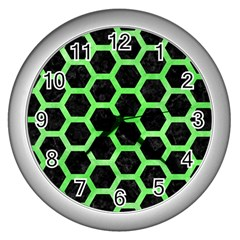 Hexagon2 Black Marble & Green Watercolor Wall Clocks (silver)