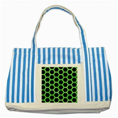 Hexagon2 Black Marble & Green Watercolor Striped Blue Tote Bag
