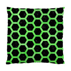 Hexagon2 Black Marble & Green Watercolor Standard Cushion Case (two Sides)