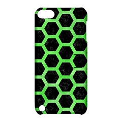 Hexagon2 Black Marble & Green Watercolor Apple Ipod Touch 5 Hardshell Case With Stand
