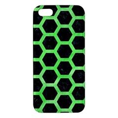 Hexagon2 Black Marble & Green Watercolor Apple Iphone 5 Premium Hardshell Case