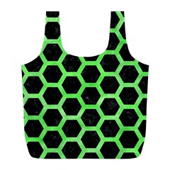 Hexagon2 Black Marble & Green Watercolor Full Print Recycle Bags (l)