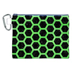 Hexagon2 Black Marble & Green Watercolor Canvas Cosmetic Bag (xxl)