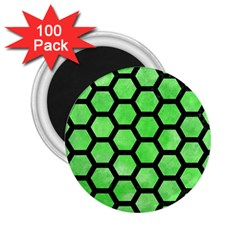 Hexagon2 Black Marble & Green Watercolor (r) 2 25  Magnets (100 Pack)