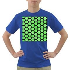 Hexagon2 Black Marble & Green Watercolor (r) Dark T Shirt