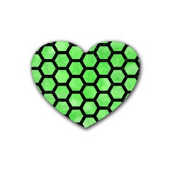 Hexagon2 Black Marble & Green Watercolor (r) Heart Coaster (4 Pack)