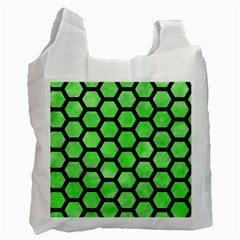 Hexagon2 Black Marble & Green Watercolor (r) Recycle Bag (two Side)