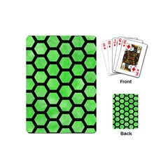 Hexagon2 Black Marble & Green Watercolor (r) Playing Cards (mini)