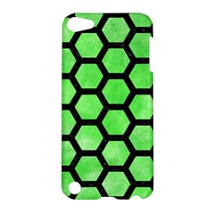 Hexagon2 Black Marble & Green Watercolor (r) Apple Ipod Touch 5 Hardshell Case