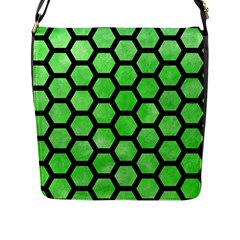 Hexagon2 Black Marble & Green Watercolor (r) Flap Messenger Bag (l)