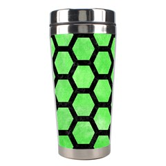Hexagon2 Black Marble & Green Watercolor (r) Stainless Steel Travel Tumblers