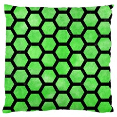 Hexagon2 Black Marble & Green Watercolor (r) Standard Flano Cushion Case (one Side)