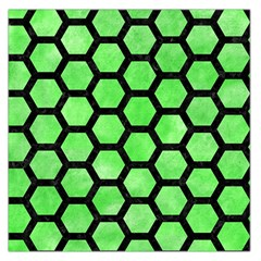 Hexagon2 Black Marble & Green Watercolor (r) Large Satin Scarf (square)