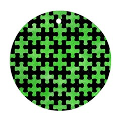 Puzzle1 Black Marble & Green Watercolor Ornament (round)