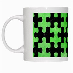 Puzzle1 Black Marble & Green Watercolor White Mugs