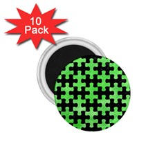 Puzzle1 Black Marble & Green Watercolor 1 75  Magnets (10 Pack)
