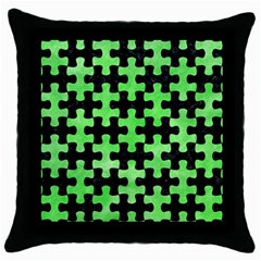 Puzzle1 Black Marble & Green Watercolor Throw Pillow Case (black)