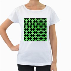 Puzzle1 Black Marble & Green Watercolor Women s Loose Fit T Shirt (white)