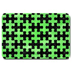 Puzzle1 Black Marble & Green Watercolor Large Doormat