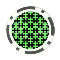 Puzzle1 Black Marble & Green Watercolor Poker Chip Card Guard