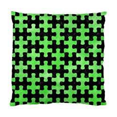 Puzzle1 Black Marble & Green Watercolor Standard Cushion Case (one Side)