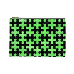 Puzzle1 Black Marble & Green Watercolor Cosmetic Bag (large)