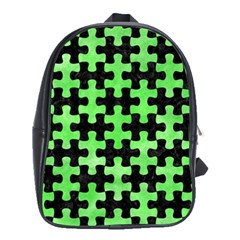 Puzzle1 Black Marble & Green Watercolor School Bag (large)