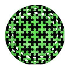 Puzzle1 Black Marble & Green Watercolor Round Filigree Ornament (two Sides)