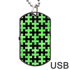 Puzzle1 Black Marble & Green Watercolor Dog Tag Usb Flash (two Sides)