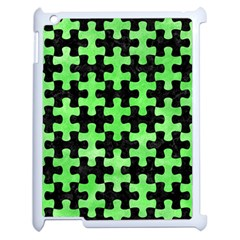 Puzzle1 Black Marble & Green Watercolor Apple Ipad 2 Case (white)