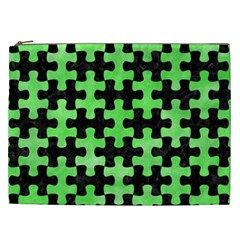 Puzzle1 Black Marble & Green Watercolor Cosmetic Bag (xxl)