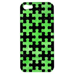Puzzle1 Black Marble & Green Watercolor Apple Iphone 5 Hardshell Case