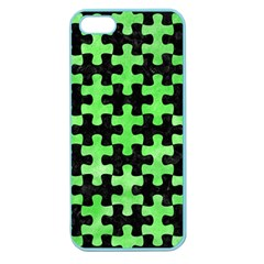 Puzzle1 Black Marble & Green Watercolor Apple Seamless Iphone 5 Case (color)
