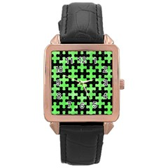 Puzzle1 Black Marble & Green Watercolor Rose Gold Leather Watch