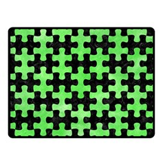 Puzzle1 Black Marble & Green Watercolor Double Sided Fleece Blanket (small)