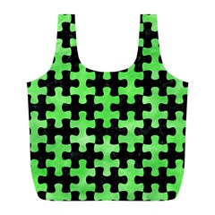Puzzle1 Black Marble & Green Watercolor Full Print Recycle Bags (l)