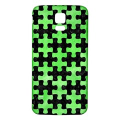 Puzzle1 Black Marble & Green Watercolor Samsung Galaxy S5 Back Case (white)