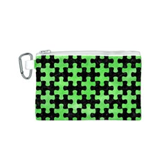 Puzzle1 Black Marble & Green Watercolor Canvas Cosmetic Bag (s)