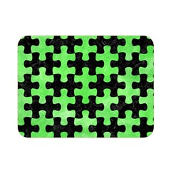 Puzzle1 Black Marble & Green Watercolor Double Sided Flano Blanket (mini)