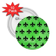 Royal1 Black Marble & Green Watercolor 2 25  Buttons (10 Pack)