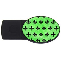 Royal1 Black Marble & Green Watercolor Usb Flash Drive Oval (4 Gb)