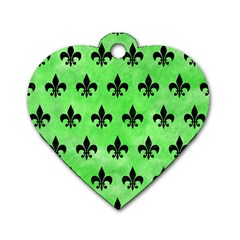 Royal1 Black Marble & Green Watercolor Dog Tag Heart (two Sides)